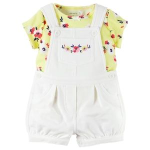 Carters Yellow and White Embroidered Shortalls Set